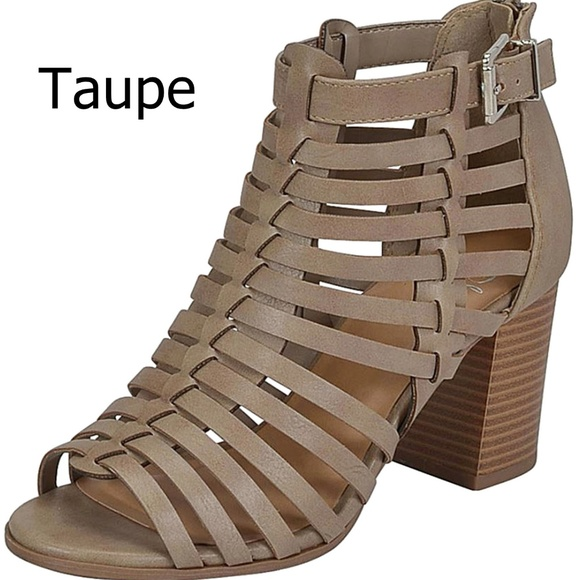 7e2f7b1da7f New Taupe Gladiator Strappy Chunky Heel Sandals